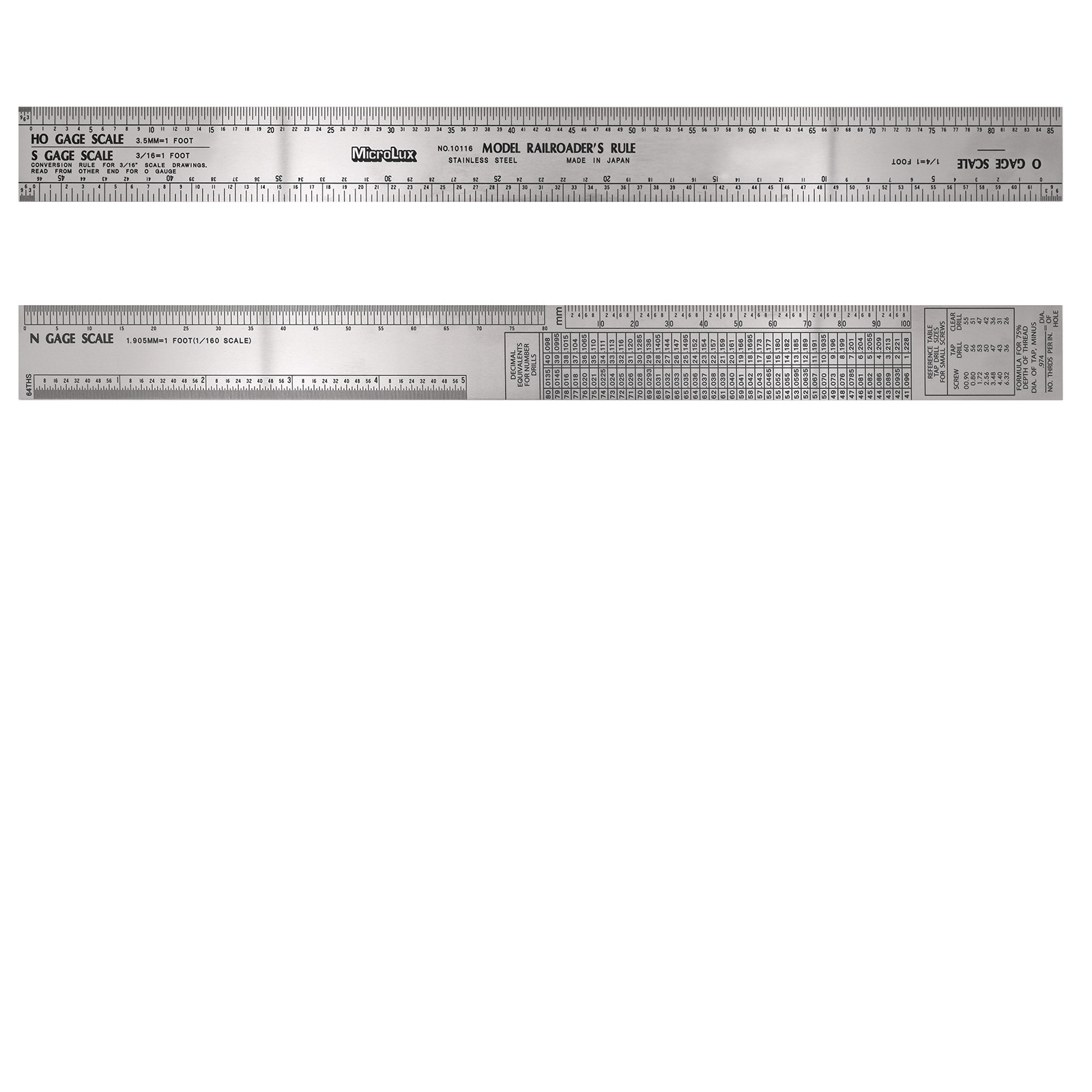 12 inch stainless steel model railroaders ruler for ho o n s scale nvjuhfo Choice Image