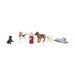Bachmann Scene Scapes HO Scale Figures Dogs & Fire Hydrant