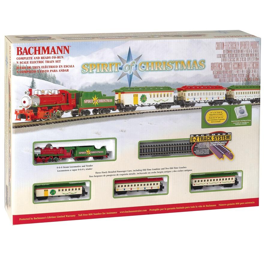 Christmas Train Set.Bachmann N Scale Spirit Of Christmas E Z Track Electric Train Set