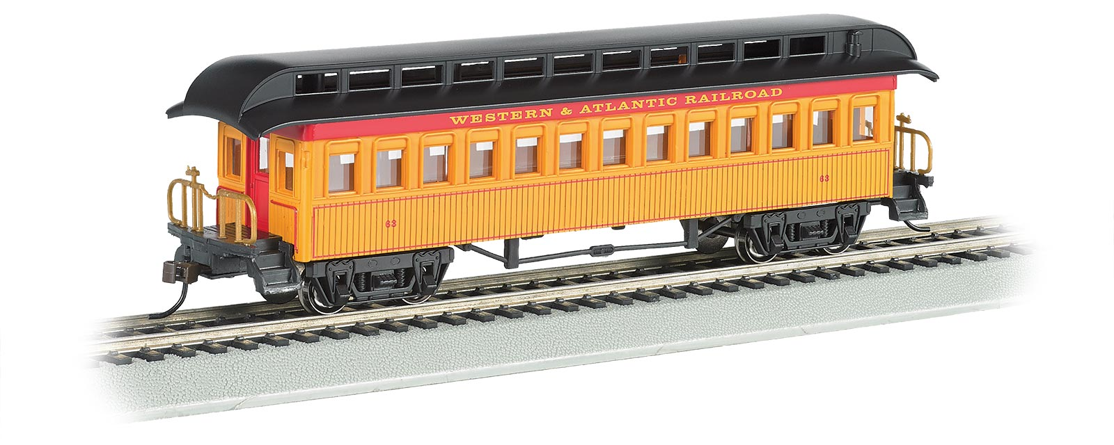 Bachmann Industries Combine Western /& Atlantic Rr Ho Scale Old-Time Car with Round-End Clerestory Roof