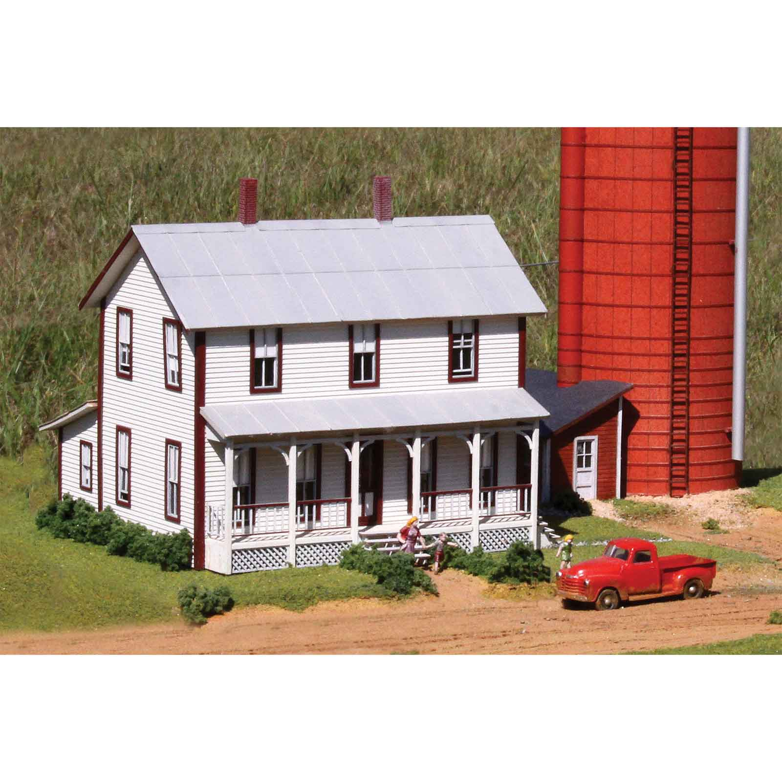 Laserkit two story farmhouse kit ho scale for 2 story kit homes