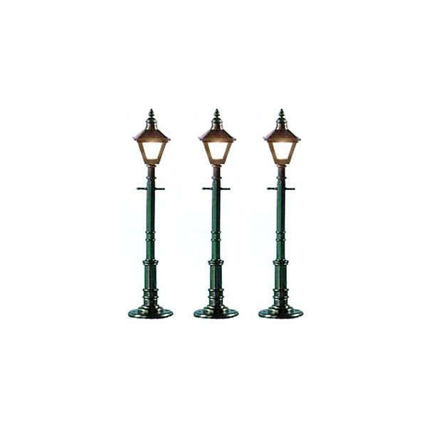 O Scale Old-Fashioned Lamp Posts; Round/Green (Pkg. of 3)