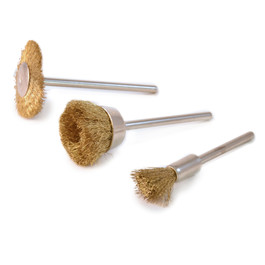Brass Wire Brushes, Set of 3, 3/32""