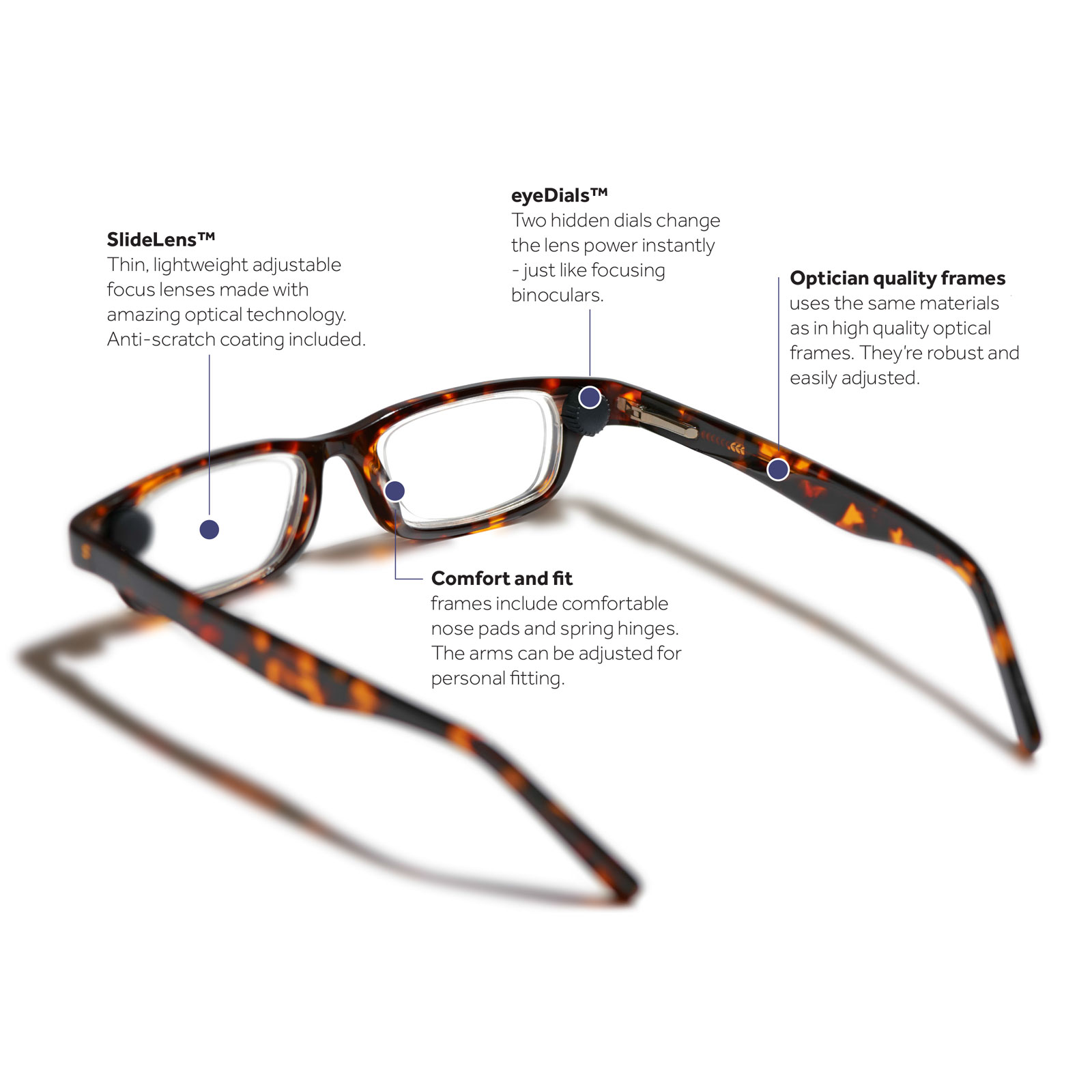 Eyejusters Magnifying Glasses, Black