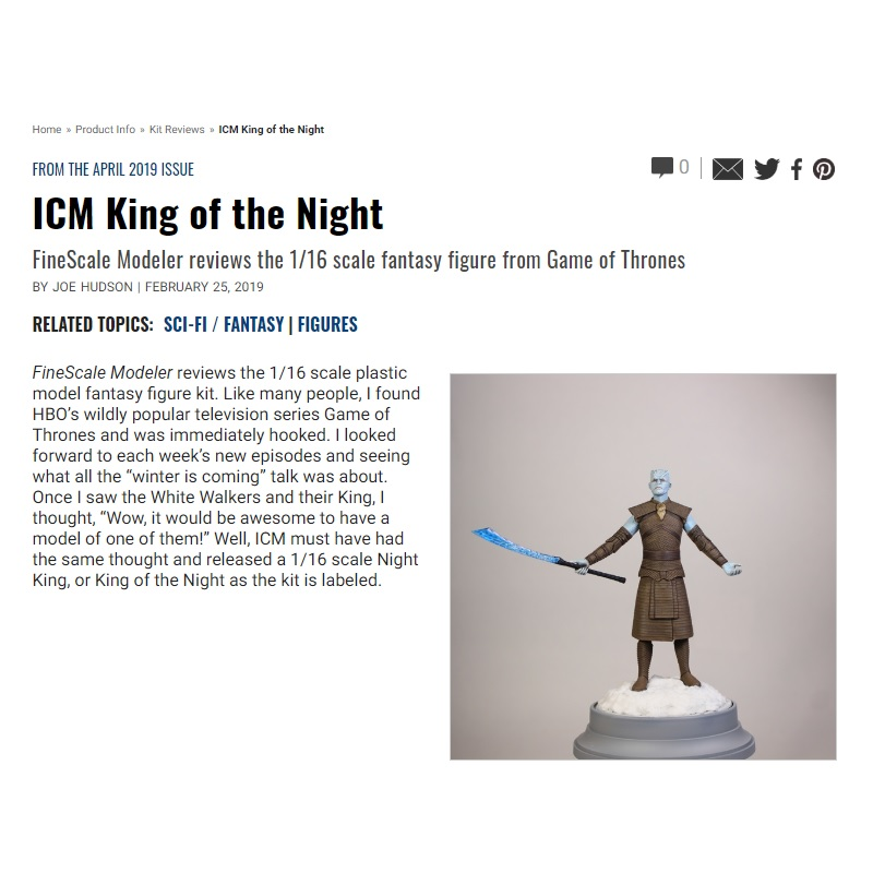 Game Of Thrones The Night King 1 10 Scale: ICM Game Of Thrones Night King Plastic Model Kit, 1/16 Scale