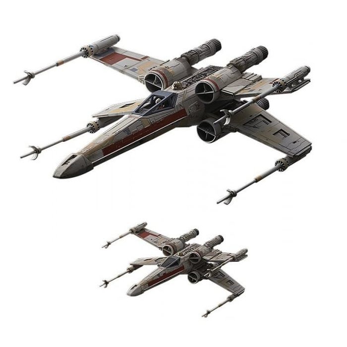 Bandai Star Wars Rogue One: Red Squadron X-Wing Starfighter Plastic Model  Kit Set - 1/72 & 1/144 Sc