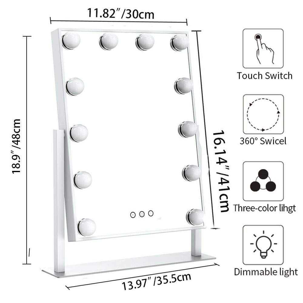 Cosmetic Mirror with 12 Dimmable Bu