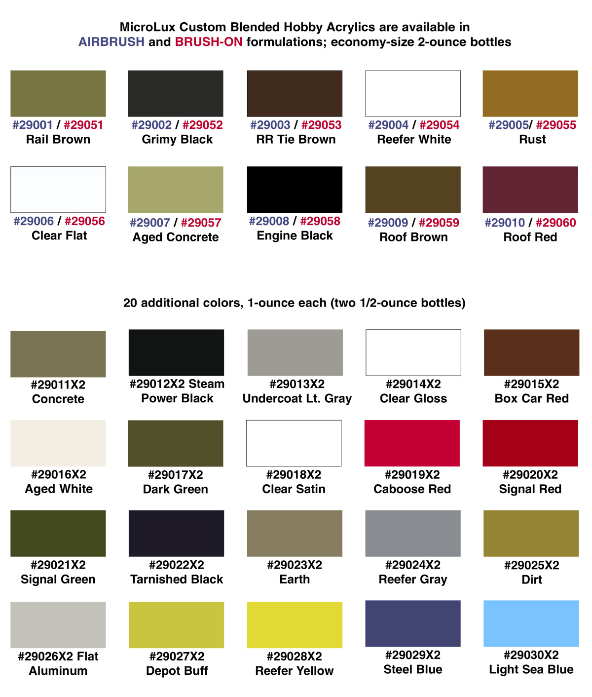 MicroLux Color Chart